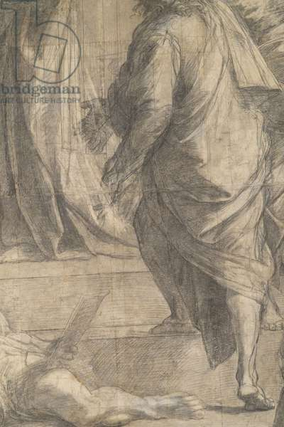Diogenes of Sinope's leg, detail of the preparatory cartoon for The School of Athens, 1510 (charcoal and white lead)