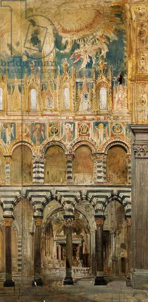 View of the Left Side of the Nave from the inside of Genoa Cathedral (tempera on canvas-backed paper)
