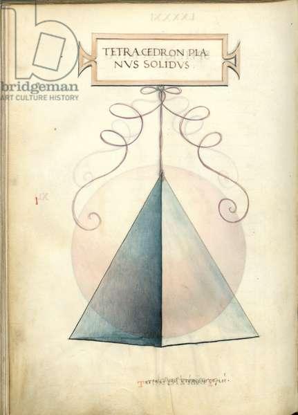 De Divina Proportione, Figure I, sheet 91 verso: Perpendicular solid tetrahedron, pyramid, Tetracedron planvs solidvs