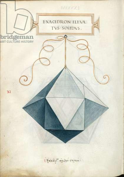 De Divina Proportione, Figure XI, sheet 96 verso: Elevated solid hexahedron, cube, Exacedron elevatvs solidvs