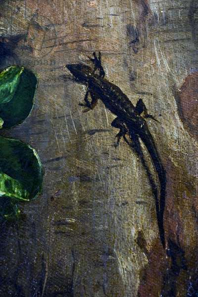 A Green Lizard, detail from The Rest on the Flight into Egypt, 1547 (oil on canvas)