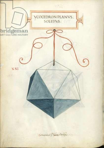De Divina Proportione, Figure XXI, sheet 101 verso: Perpendicular solid icosahedron, Ycocedron planvs solidvs