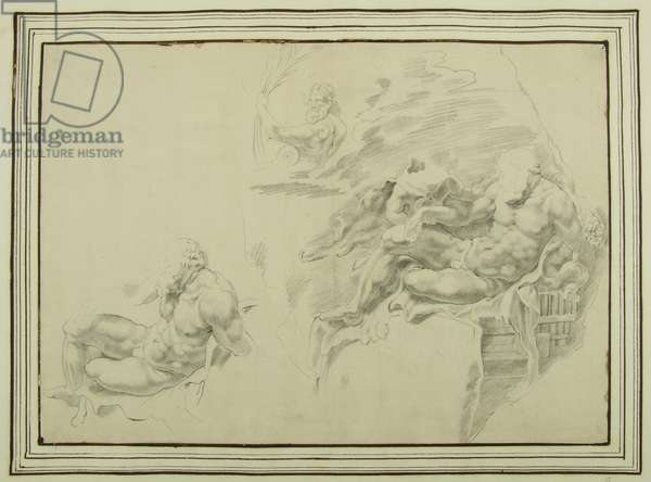 Two Studies of Sitting Hercules; Bust of a River Deity