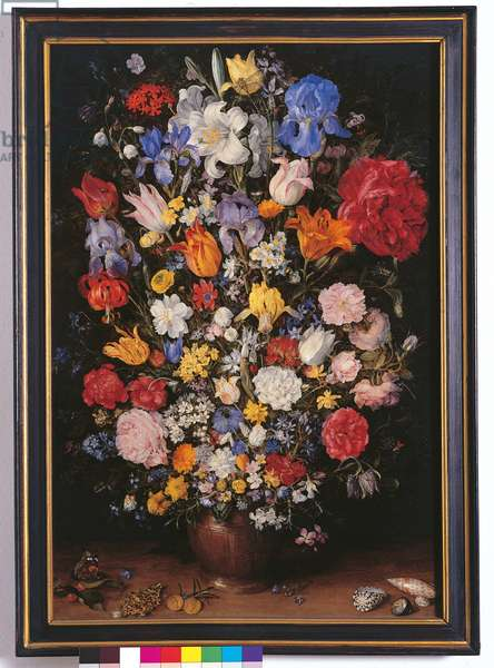 Vase of Flowers with Jewel, Coins and Shells, 1606 (oil on copper)