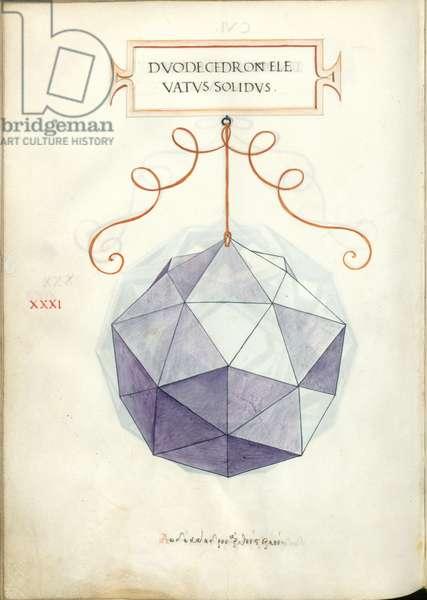 De Divina Proportione, Figure XXXI, sheet 106 verso: Elevated solid dodecahedron, Dvodecedron elevatvs solidvs