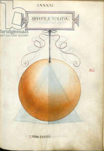 De Divina Proportione, Figure XLI, sheet 91 recto: Solid sphere, Sphera solida