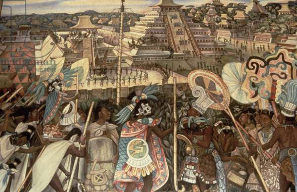The Culture of Totonaken, detail from the series, 'Pre-hispanic and Colonial Mexico', 1945-52 (mural painting)