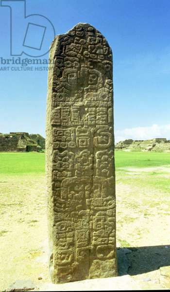 Stone stela covered in Mixtec hieroglyphs (photo)