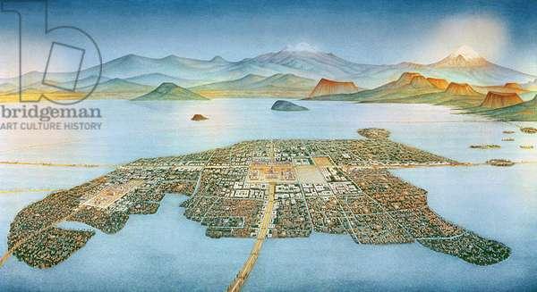 Island Capital of the Aztecs, Tenochtitlan (mural)