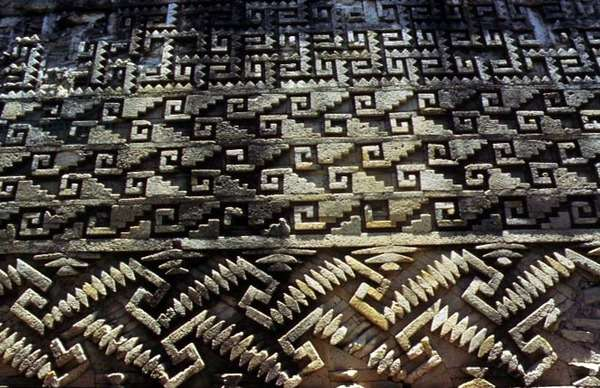 Detail of patterns from the stonework of Mixtec ruins (photo)
