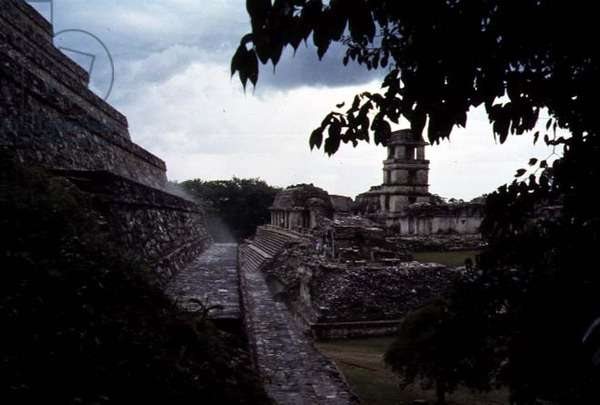 View of the ceremonial centre with Palenque Palace in the background, Maya (photo)
