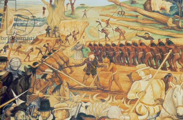 The Colonisation, detail from the series 'Epic of the Mexican People', 1945-52 (mural painting)