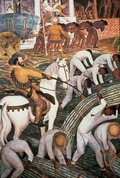 Slavery in the Sugar Plantation, Tealtenango, Morelos, from the series, 'History of Cuernavaca and Morelos', 1930-1 (mural painting)