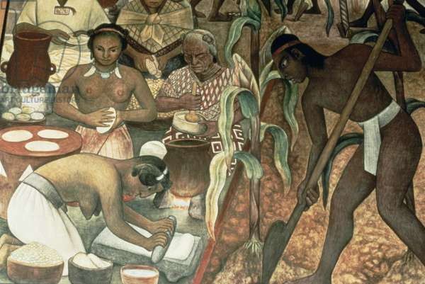 Cultivation of maize and the preparation of pancakes, detail from the series 'Epic of the Mexican People', 1929-35 (mural painting) (see also 20534)