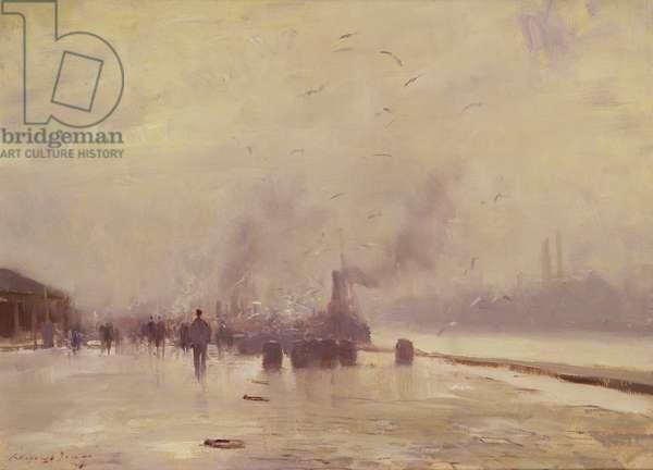 Herring Season, Yarmouth (oil on canvas)