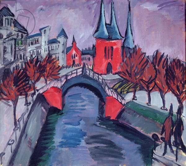 Red Elisabeth Riverbank, Berlin, 1912 (oil on canvas)