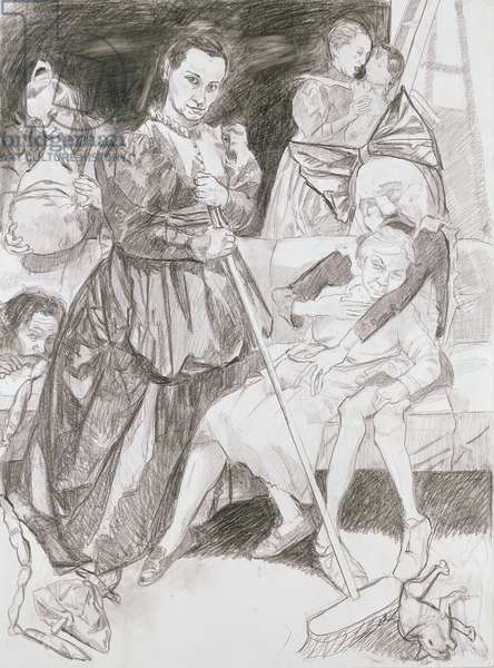 Muses Feeding, 2007 (graphite & conté pencil on paper)