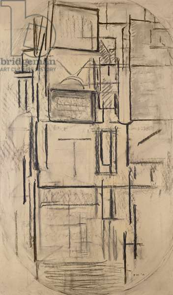 Side Facade: Study for Composition in Oval with Colour Planes 1, 1914 (charcoal on paper mounted on board)
