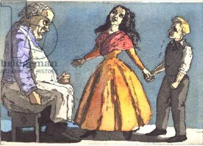 The Baker's Wife, 1989 (hand-coloured etching)