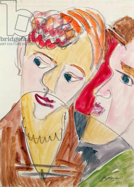 Lovers H 'Die Hembusse', 1931 (w/c & chalk on paper)