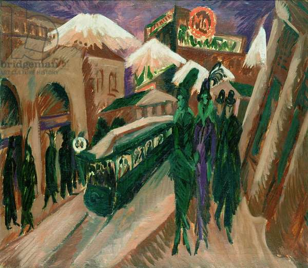 Leipzig Street with Electric Tram, 1914 (oil on canvas)