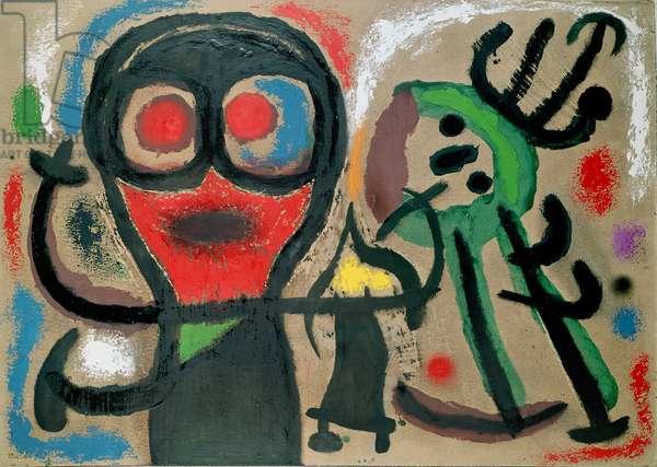 Figures and Birds, 1963 (oil on cardboard)