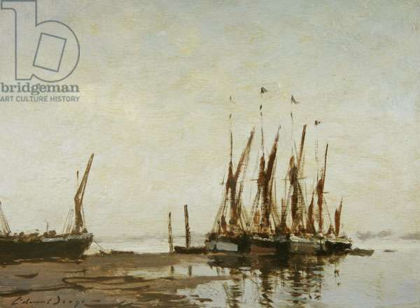Barges on the Pin Mill Hard (oil on board)