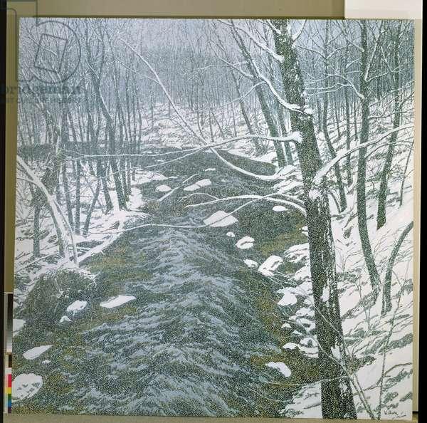 Snow on Alden Brook, 1983 (oil on canvas)