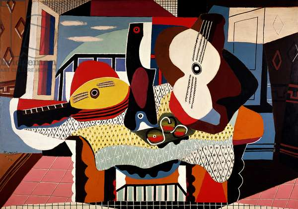 Mandolin and guitar - Juan-les-Pins, 1924 (oil and sand on canvas)