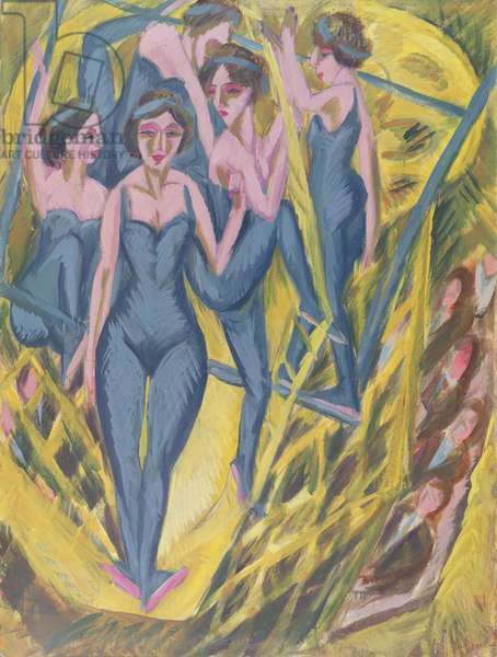 Trapeze Artists in Blue, 1914 (oil on canvas)