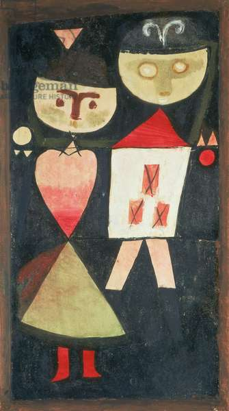 Couple in Fancy Dress, 1923 (no 28) (oil and w/c on paper on cardboard)