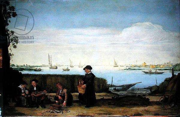 The Fish Sellers (oil on copper)