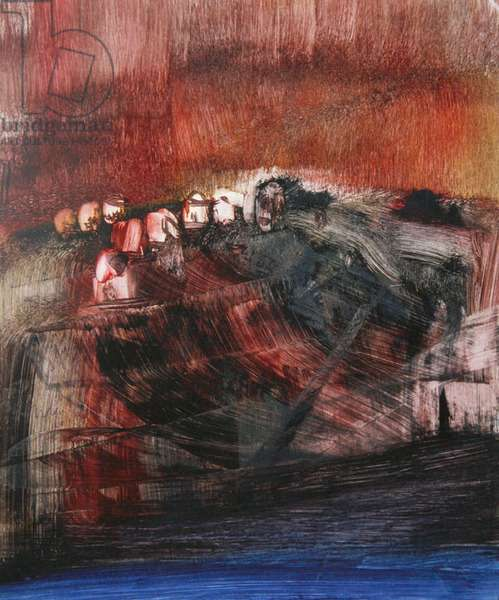 Figures on a Hill, 1960 (mixed media on paper)