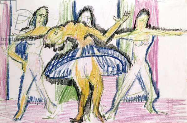 Dancers (Mary Wigman School), 1926 (coloured chalk on paper)