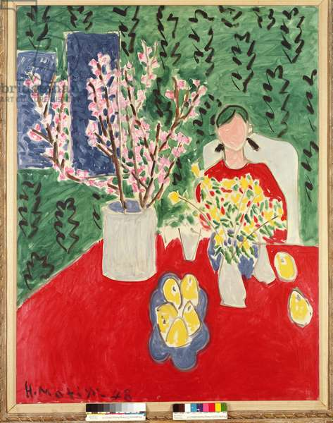 Plum Blossoms, Green Background, 1948 (oil on canvas)