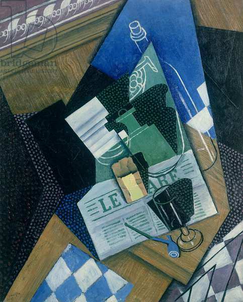 Still Life with Water Bottle, Bottle and Fruit Dish, 1915 (oil on canvas)