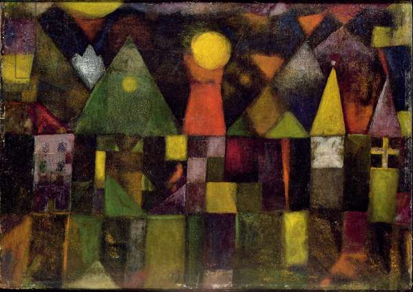 Moon over the Town, 1922 (no 18) (oil on canvas on cardboard)
