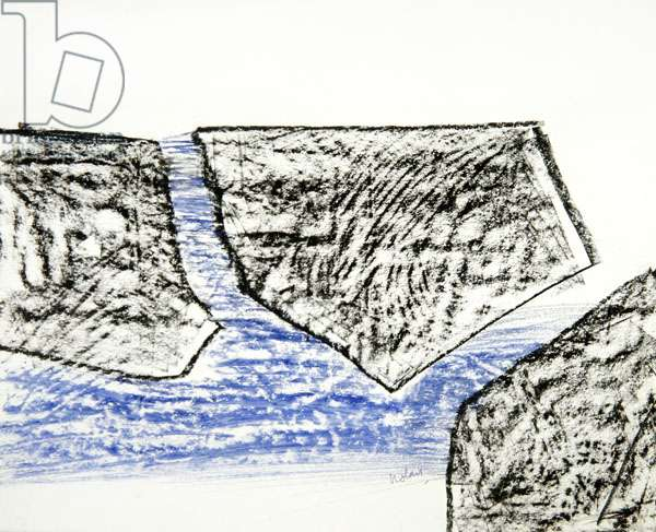 Sea and Shapes, 1958 (mixed media on paper)