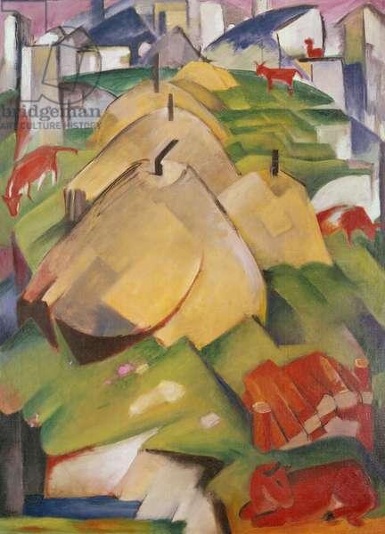 Alpine Scene with Haystacks, 1912 (oil on canvas)