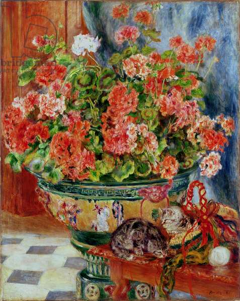 Geraniums and Cats, 1881 (oil on canvas)