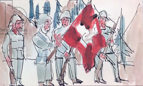 Swiss Soldiers with Flag, 1927 (w/c & Indian ink on paper)
