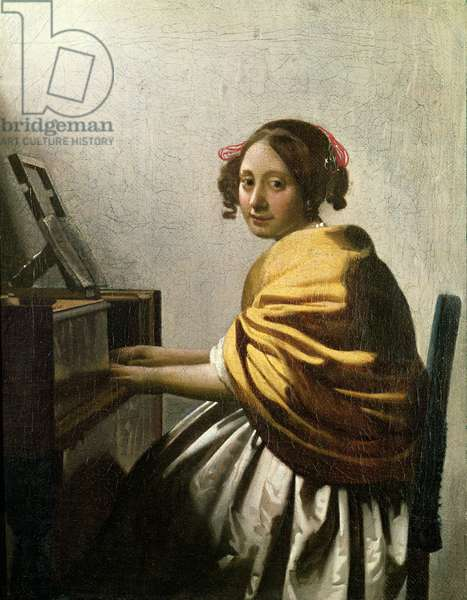 Young Woman at a Virginal (oil on canvas)