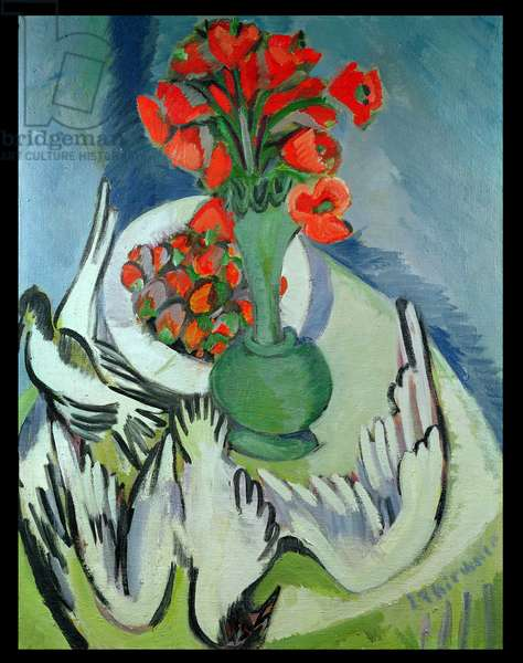 Still Life With Seagulls, Poppies and Strawberries, 1912-14 (oil on canvas)