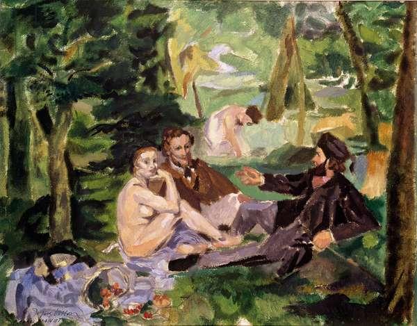 After Manet: Le Dejeuner sur l'herbe, 1920s (w/c on paper)