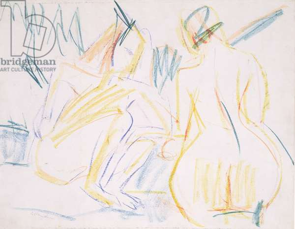 Female nudes on the beach, c.1920 (coloured crayon on paper)