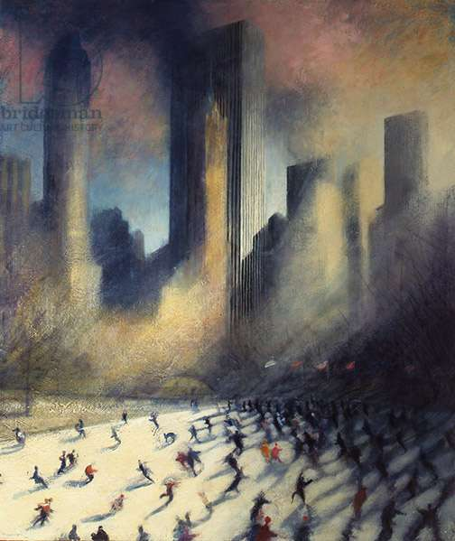 Ice Skaters, Central Park I, 1989 (oil on canvas)
