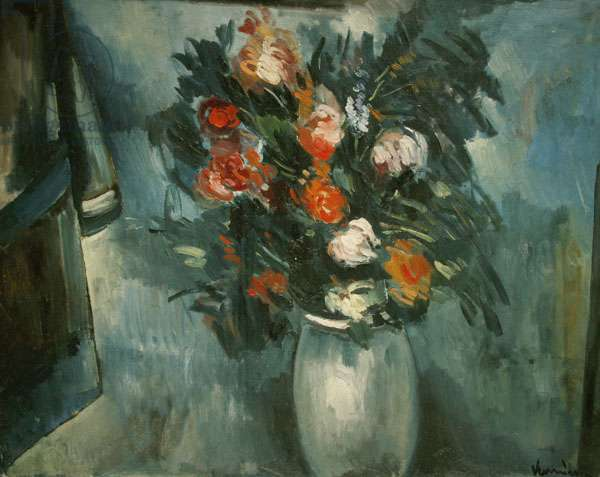 Flowers in a blue vase, 1912 (oil on canvas)