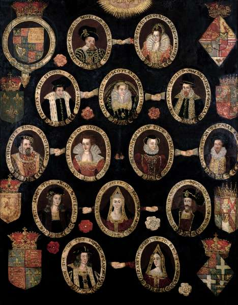 Genealogical chart tracing the Tudor roots of Mary Stuart, Queen of Scots (1542-87) and her son James VI of Scotland and I of England (1566-1625) c.1603 (oil on canvas)