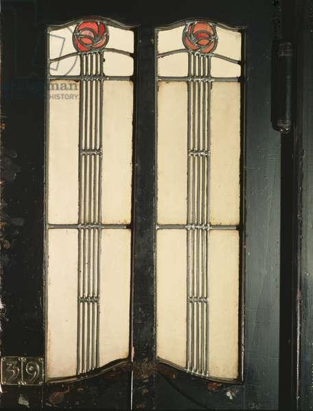 Glasgow School of Art, stained glass door to Studio 45 (photo)