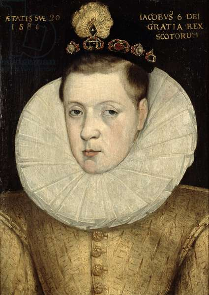 Portrait of James VI of Scotland, later James I of England (1566-1625) 1586 (oil on panel)